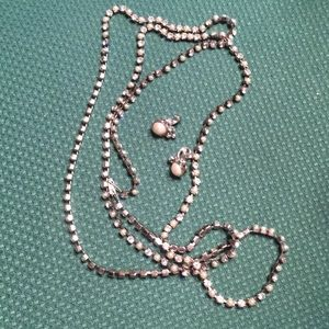 Vintage pearl and rhinestone necklace and earrings